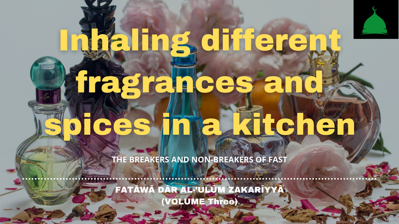 Inhaling different fragrances and spices in a kitchen