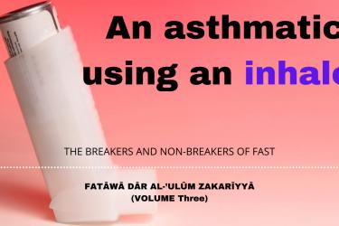 An asthmatic using an inhaler