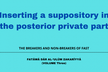 Inserting a suppository in the posterior private part