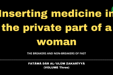 Inserting medicine in the private part of a woman